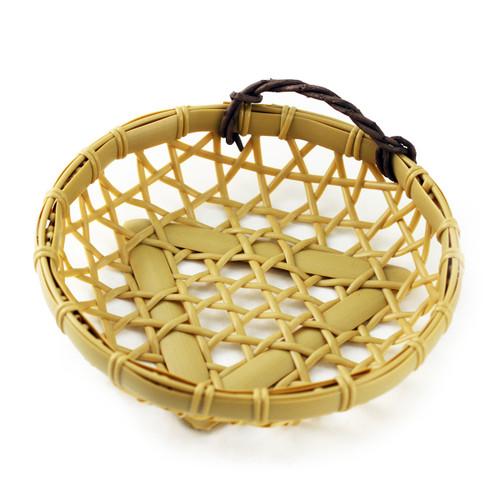 """Washable Round Faux Bamboo Basket 7.13"""" dia"""