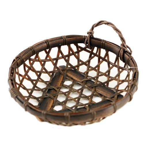 "Washable Dark Brown Round Faux Bamboo Basket 5.88"" dia"
