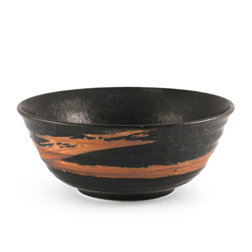 "Matte Black & Brown Noodle Bowl 42 fl oz / 7.68"" dia"