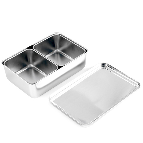 Stainless Steel Yakumi Mise En Place Pan 2 Compartment Set
