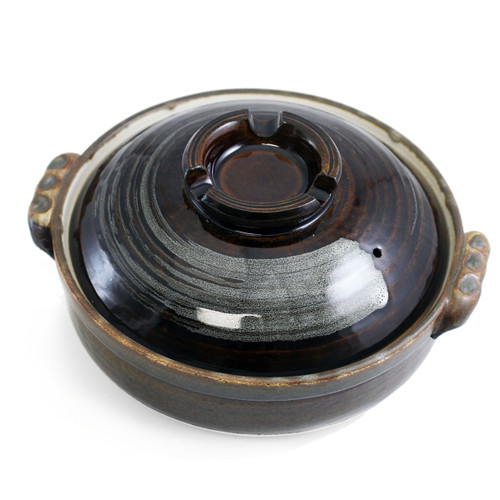 "Brown Donabe Earthenware Pot 60 fl oz / 8.25"" dia"