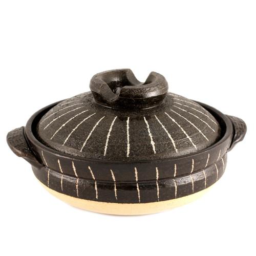 "Striped Donabe Earthenware Pot 47 fl oz / 7.25"" dia"