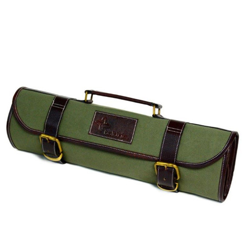 Boldric 9-Pocket Green Canvas Roll Knife Bag