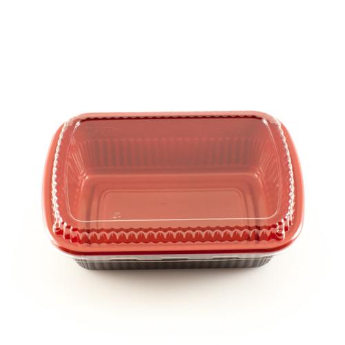"""BF-211 Black & Red Take Out Bento Box 7.6"""" x 5.25"""" (1200/case)- No Lids"""