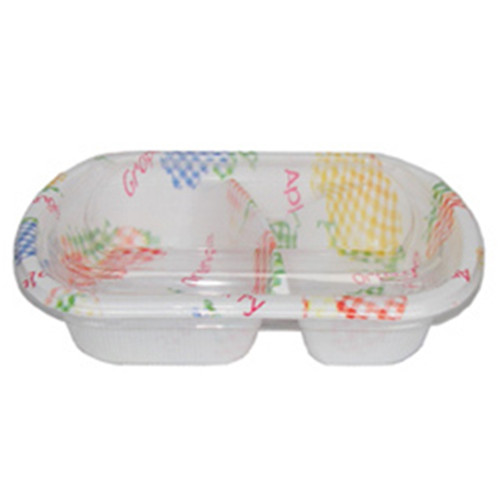 "[Clearance] 2 Compartments Take Out Food Tray Fruit Pattern BF-172 7 0.25"" x 5"" (50/pack)"