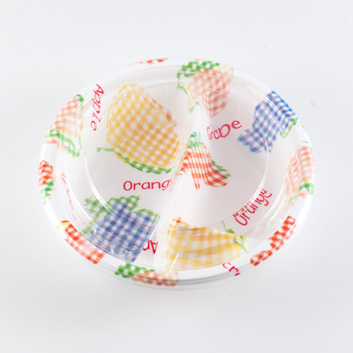 """[Clearance] 3 Compartments Take Out Food Tray Fruit Pattern BF-173 6.33""""dia x 1.5""""h (50/pack)"""