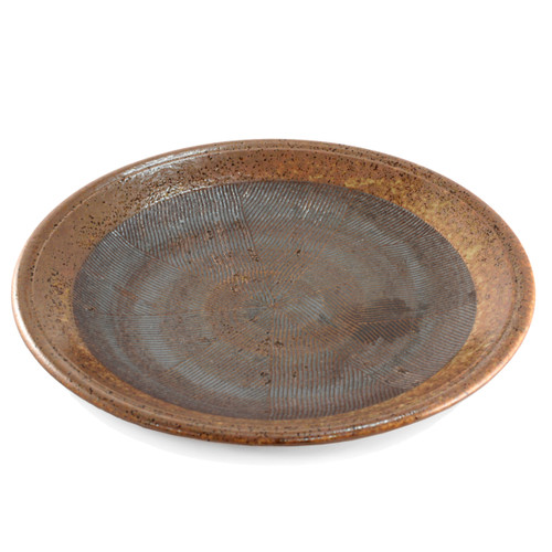 "Large Round Plate Tetsuaka Iron Red Ceramic 10.47"" dia"