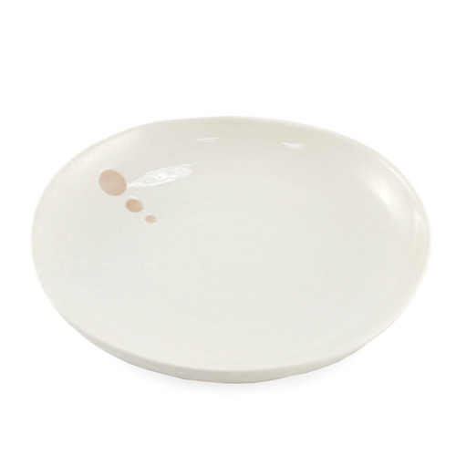 "Large Round Plate White Glazed with Dots Motif 8.94"" dia"