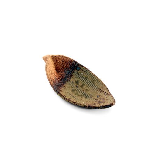"""Handmade Leaf Shaped Small Plate Yakishime 5"""" x 2.25"""""""