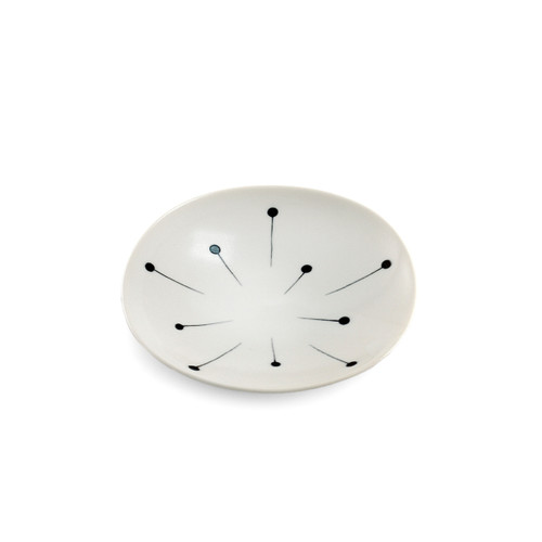"""White Medium Plate with Fireworks Pattern 5.04"""" dia"""