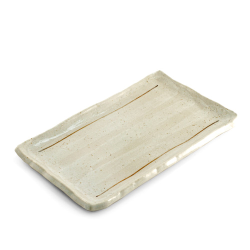 """[Clearance] White Glazed Lined Rectangular Plate 9.25"""" x 5.7"""""""