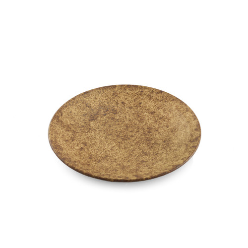 """[Clearance] Textured Small Round Plate Earthy Brown Ceramic 6"""" dia"""