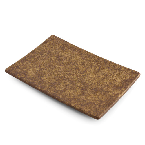 """[Clearance] Textured Rectangular Plate Earthy Brown Ceramic 8.23"""" x 5.51"""""""