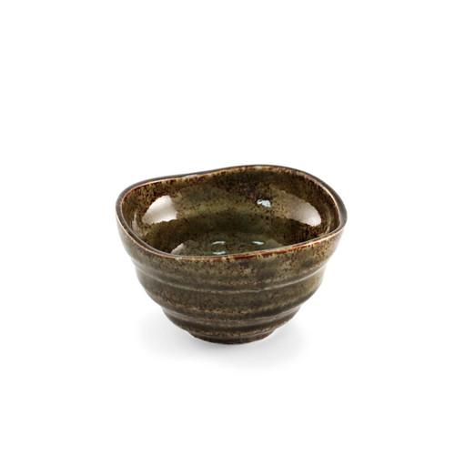 "Oribe Glossy Small Bowl Iron Powered Moss Green 4"" dia"