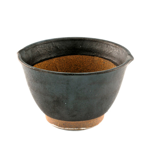 "Black Double Lipped Large Bowl / Japanese-style Mortar (Suribachi) 31 fl oz / 6.02"" dia"