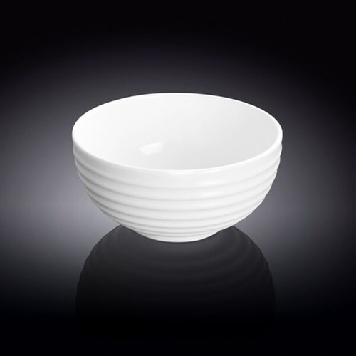 "Wilmax White Ridged Bowl 10 fl oz / 4.57"" dia"