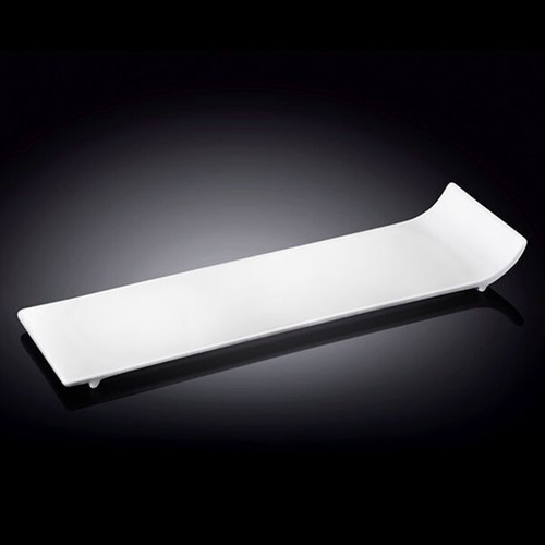 "Wilmax White Rectangular Plate with Side Lifted 12.01"" x 3.74"""