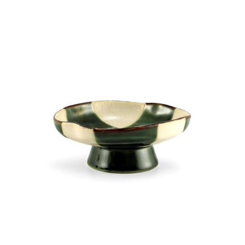"""Oribe Green & Ivory Checkered Small Dish with Stand 4.72"""" dia"""