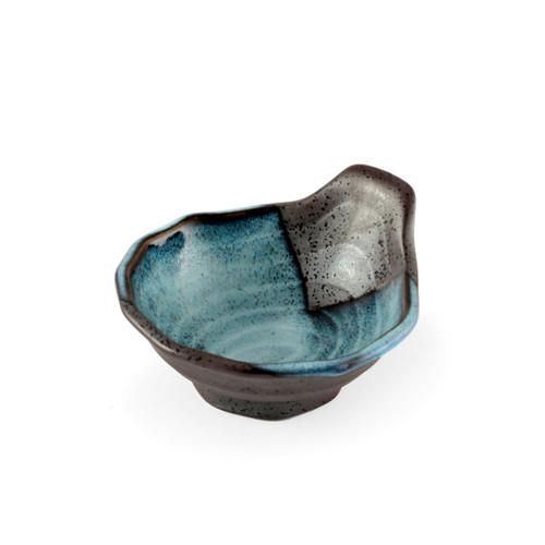 "Black Cobalt Tonsui Bowl with Wood Pattern 5 fl oz / 4.65"" dia"