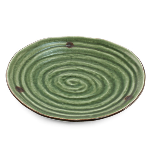 "Swirl Textured Green Plate 9.61"" x 8.86"""
