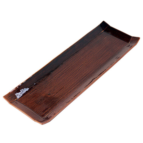 "Glossy Brown Rectangular Plate 14.25"" x 4.7"""