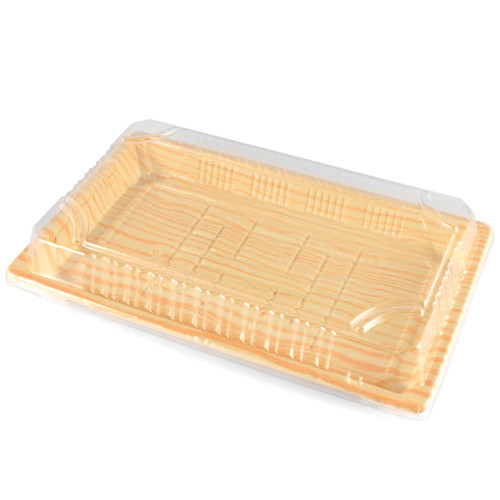 "TZ-015 Light Wood Pattern Take Out Sushi Tray 8.5"" x 5.4"" (1000/case) - No Lids"