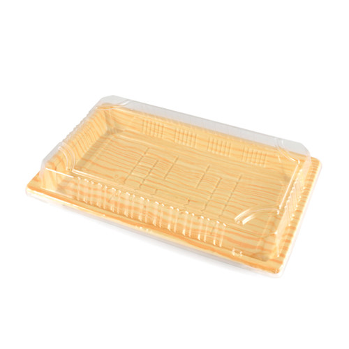 "TZ-010 Light Wood Pattern Take Out Sushi Tray 7.4"" x 5.3"" (1200/case) - No Lids"