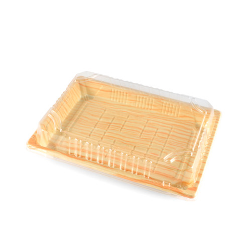 "TZ-008 Light Wood Pattern Take Out Sushi Tray 6.5"" x 4.5"" (1500/case) - No Lids"