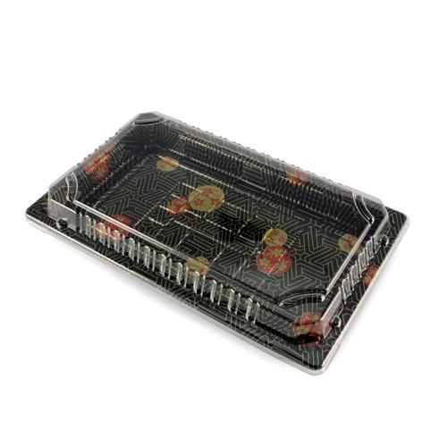 "TZ-015 Black Designed Take Out Sushi Tray 8.5"" x 5.4"" (1000/case) - No Lids"
