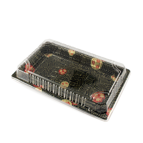 "TZ-010 Black Designed Take Out Sushi Tray 7.4"" x 5.3"" (1200/case) - No Lids"
