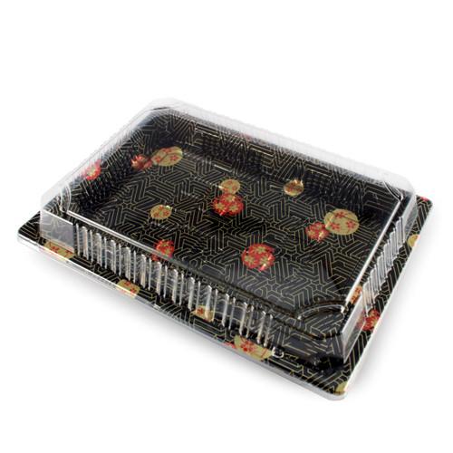 "TZ-020 Black Designed Take Out Sushi Tray 9.38"" x 5.75"" (800/case) - No Lids"