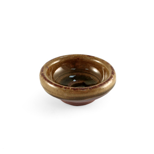 "Brown Soy Sauce Dish with Oribe Green Swirl 2.68"" dia"