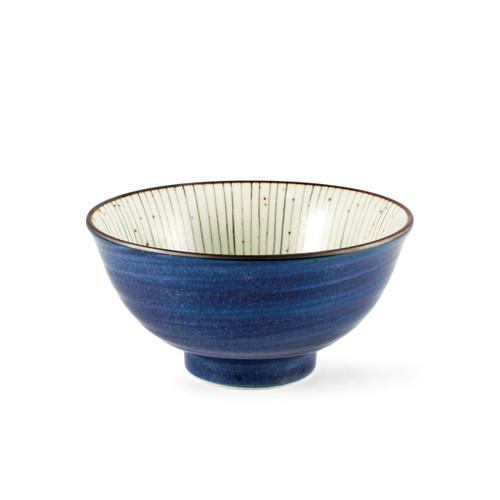 """Tokusa Blue Lined Interior Donburi Bowl 22.5 fl oz / 6.25"""" dia"""