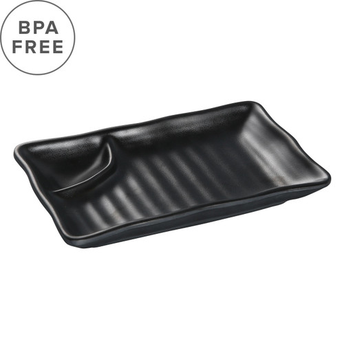 "Melamine Black Matte Divided Plate 7.68"" x 4.45"""