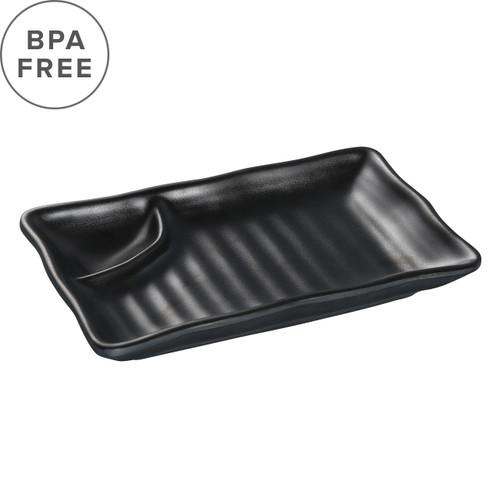 "Melamine Black Matte Divided Plate 7.68"" x 4.45"""