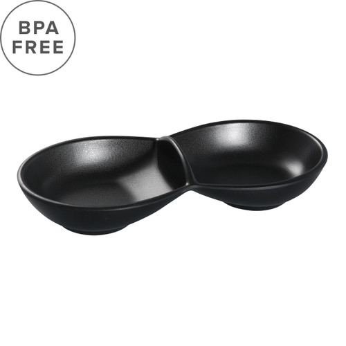 "[Clearance] Melamine Black Matte 2 Compartment Plate 9.25"" x 4.13"""