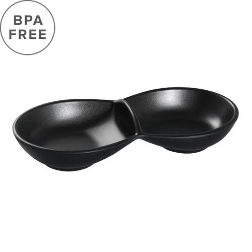 "[Clearance] Melamine Black Matte 2 Compartment Plate 9.25"" x 4.13"""