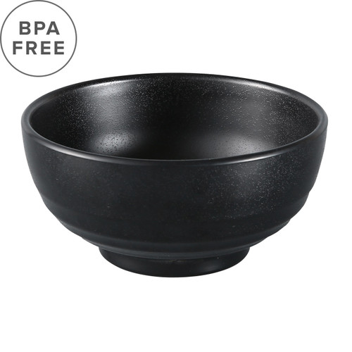 "Melamine Black Grainy Noodle Bowl 40 fl oz / 7.6"" dia"