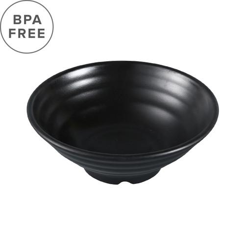 """Melamine Black Matte Ridged Soup Bowl 18 fl oz / 6.85"""" dia"""