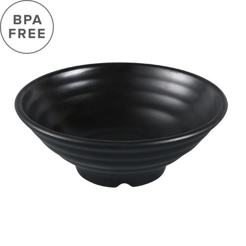 "Melamine Black Matte Ridged Noodle Bowl 28 fl oz / 7.83"" dia"