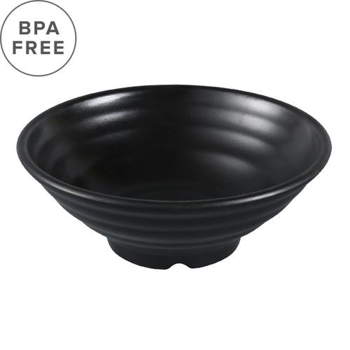 "Melamine Black Matte Ridged Noodle Bowl 48 fl oz / 8.9"" dia"