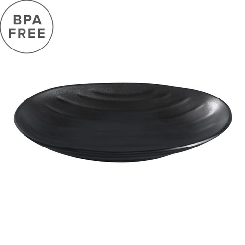 "Melamine Black Matte Rippled Oval Plate 8.15"" x 5.12"""