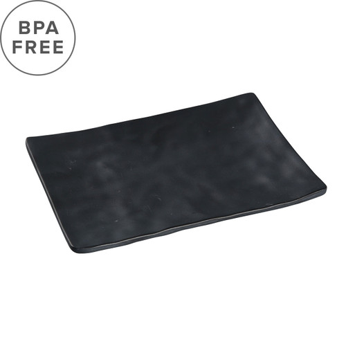 "Melamine Black Matte Textured Rectangular Plate 7.83"" x 5.39"""