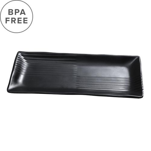 """Melamine Black Matte Rimmed Rectangular Plate 8.39"""" x 3.94"""""""