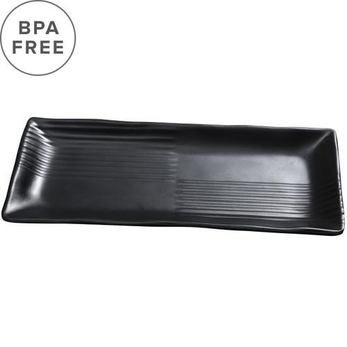 """Melamine Black Matte Rimmed Rectangular Plate 13.31"""" x 6.26"""""""