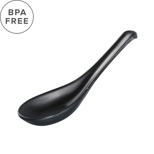 "Melamine Black Matte Renge Ramen Spoon 5.5"" Length"