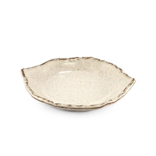 "White Glazed Leaf Shaped Plate 6.18"" x 5.51"""