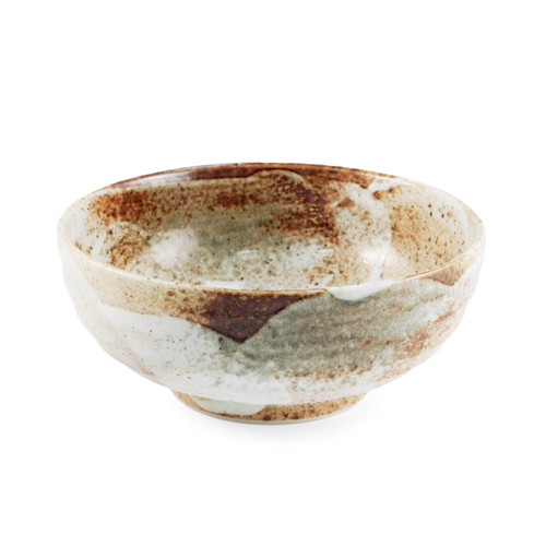 "Yukishino Moss White Noodle Bowl 33 fl oz / 6.69"" dia"