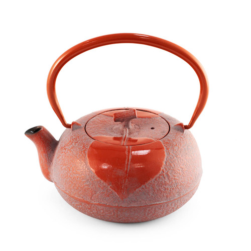 Leaf Motif Red Nanbu Cast Iron Teapot 23 oz
