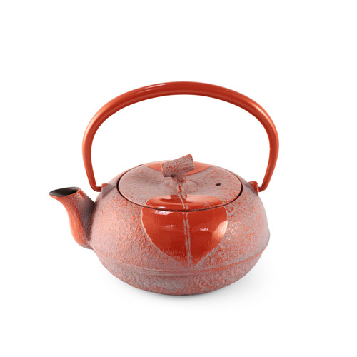 Leaf Motif Red Nanbu Cast Iron Teapot 10 oz